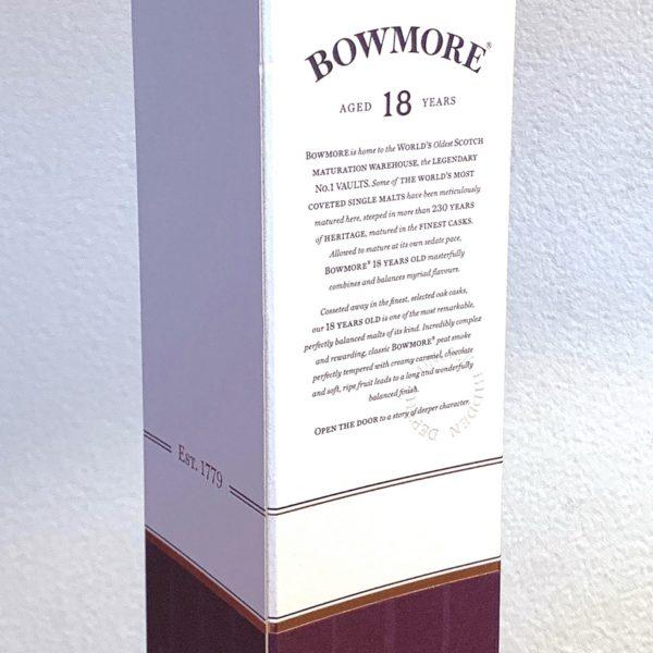 Bowmore 18 years Single Malt, back side label