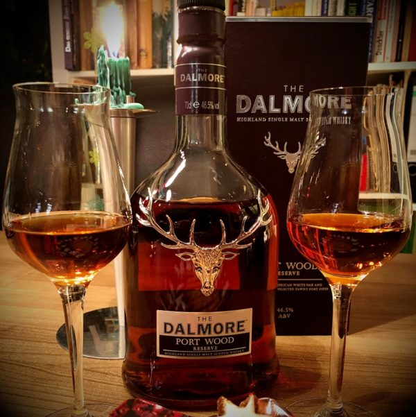 Dalmore Portwood Resesrve Single Malt with glasses