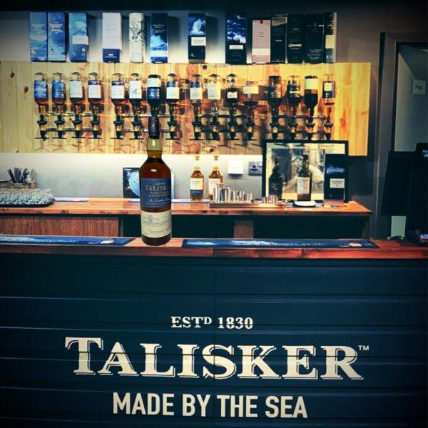 Talisker Distillers Edition at bar of visitor center