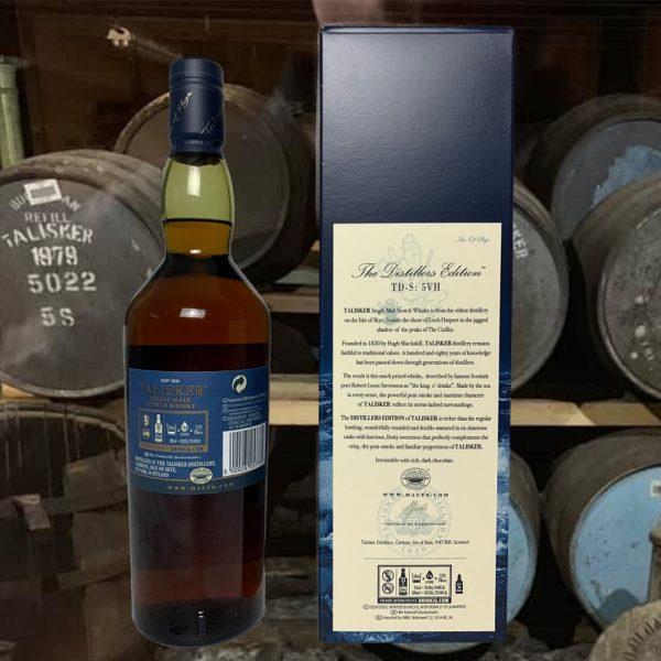 Talisker Distillers Edition backside label