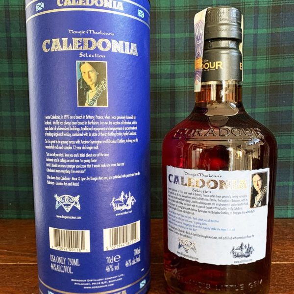 Edradour Caledonia back side label