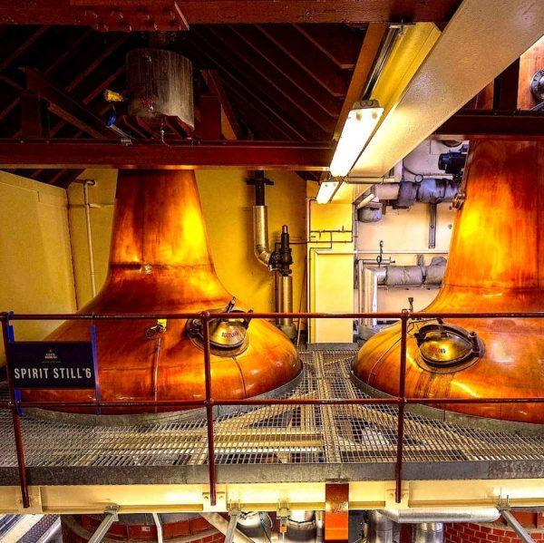Glen Moray Scotch stills in production hall