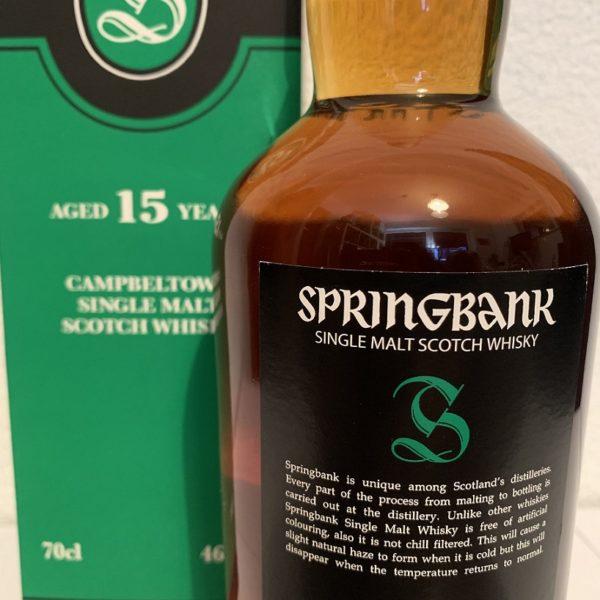 Springbank 15 Jahre Single Malt Label Rückseite