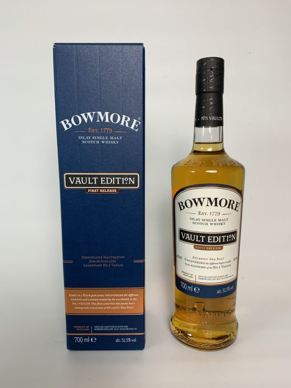 """""""Bowmore Atlantic Sea Salt"""" single malt, bottled at 51.5% vol., represents salty-maritime flavors, which are accompanied by a very fine hint of smoke."""