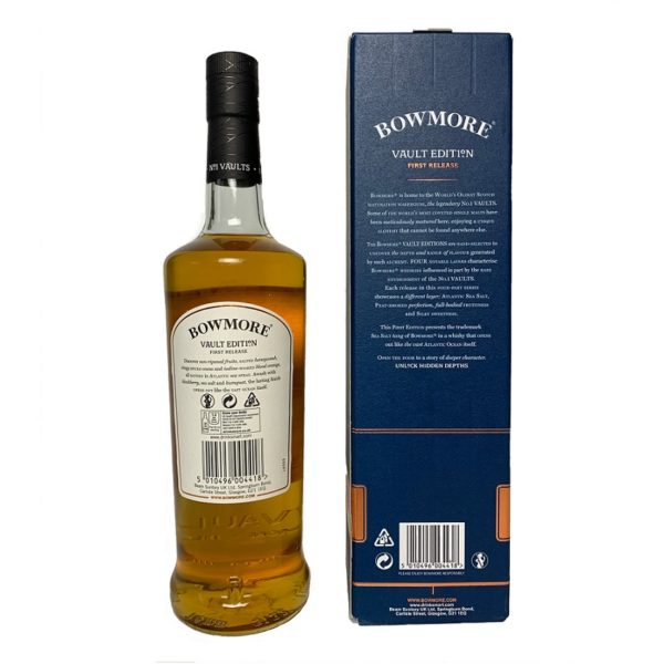 """""""Bowmore Atlantic Sea Salt"""", back side of the package with description, single malt, represents salty-maritime flavors, which are accompanied by a very fine hint of smoke."""