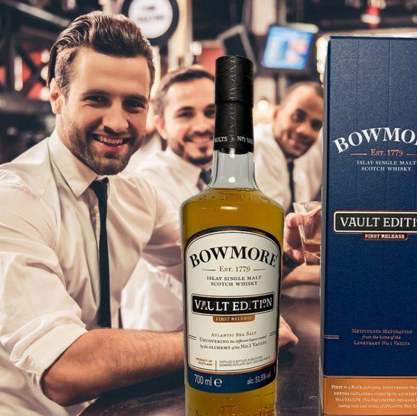 Friends at bar, enjoying Bowmore Atlantic Sea Salt