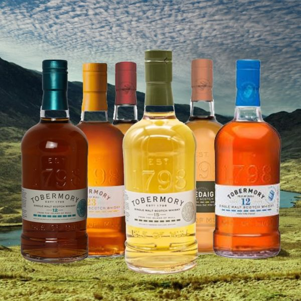 Tobermory 15 years single malt with Tobermory collection bottles