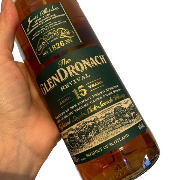 GlenDronach 15 years single malt label front side