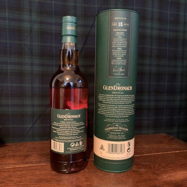 GlenDronach 15 years single malt backside label