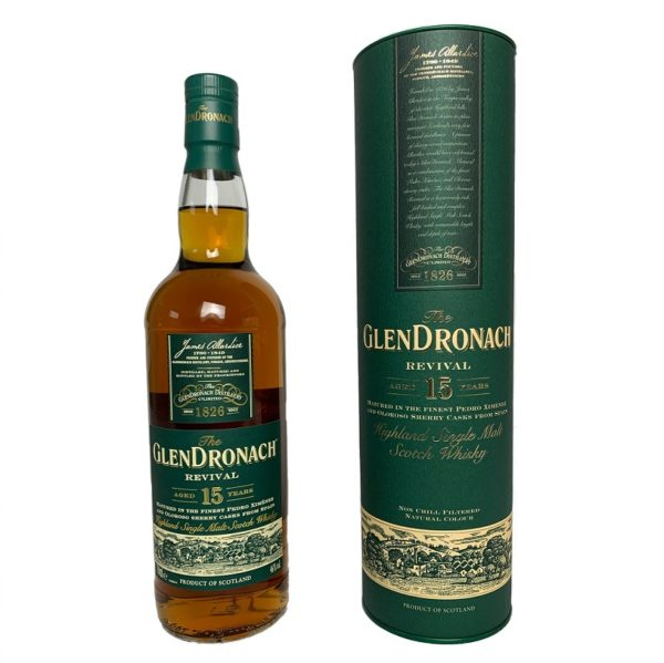 Glendronach 15 Years Revival is an award-winning single malt with the scent of bitter oranges, walnut liqueur, honey-glazed fruits and cherries in muscovado.