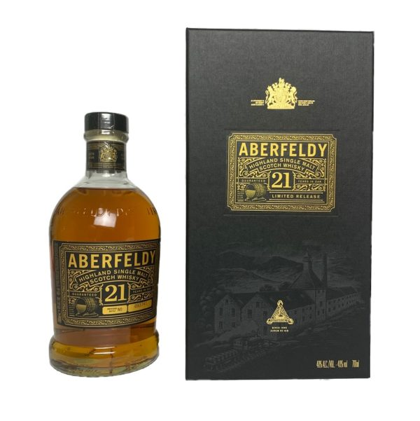 The Aberfeldy 21 years is a well-matured, gold-colored Single Malt Scotch, elegant aroma of honey, vanilla, heather & oranges, surprising slight smoke note.
