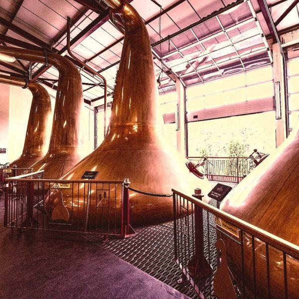 Stills of Aberfeldy Distillery producing high quality Aberfeldy 16 years single malt