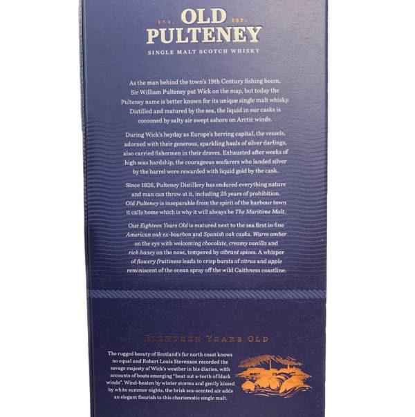 Old Pulteney 18 years single malt, back side label