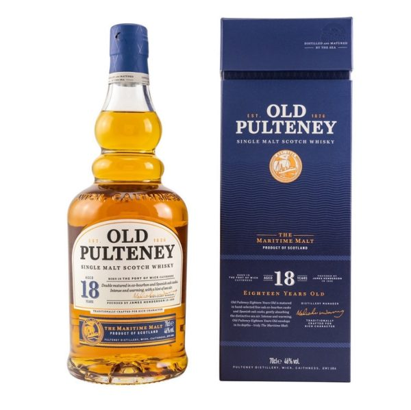 Old Pulteney 18 years single malt, taste of hot chocolate, creamy vanilla and honey, in combination with fine spices and a light sea breeze