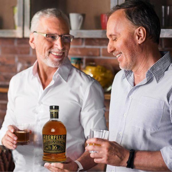 two friends appreciating Aberfeldy 16 years single malt