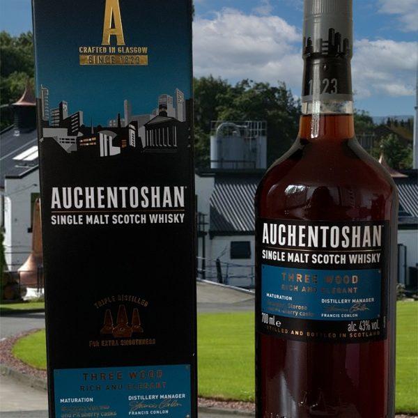 Auchentoshan Three Wood Single Malt with distillery