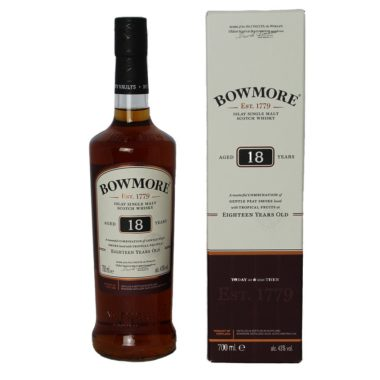 Bowmore 18 years Single Malt, dark and complex Whisky, with creamy caramel flavor, fruity and peaty smoke notes, complex and long-lasting finish.