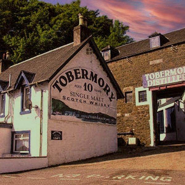 Tobermory Distillery in the evening, producing Tobermory 12 years single malt and Tobermory 15 years single malt