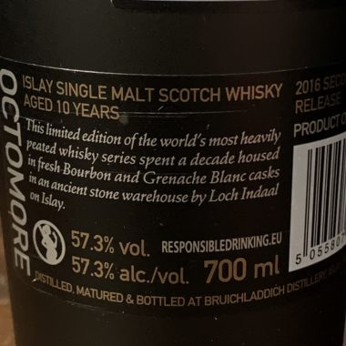 Octomore 10 years Single Malt - Second Limited Edition, back side label