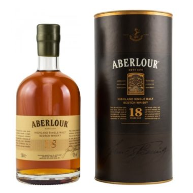 Aberlour 18 years single malt is a non peaty whisky. 18 years of maturation in Bourbon and Sherry casks provided a delicious mixture of fruity wooden notes.