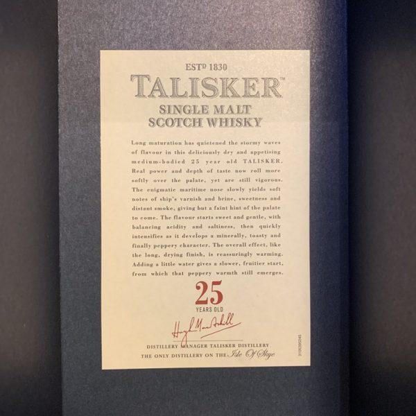 Talisker 25 Jahre Single Malt backside label