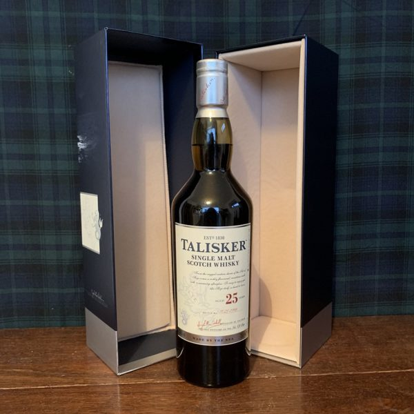 Talisker 25 year old single malt with noble packaging