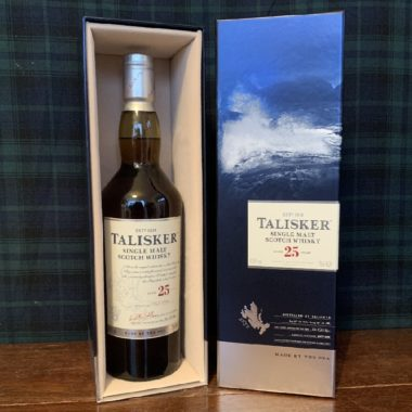 Talisker 25 year old single malt with opened packaging